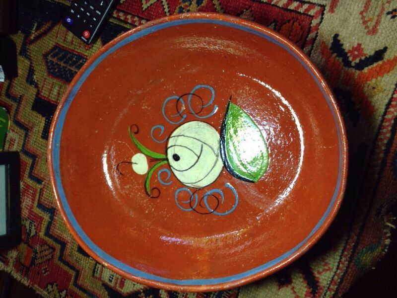 Vintage Mexican large oval bowl CR Mackintosh design gorgeous red clay
