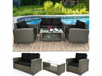 **FREE & FAST UK DELIVERY** Grey Poly Rattan Aluminium Bistro Garden Lounge Chairs & Table Set