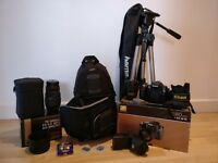 Nikon D80 + 18-70mm + 70-300mm + flash, bag & tripod