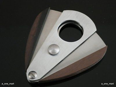 100% New Ebony Stainless Steel Double Blades Cigar Cutter