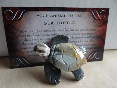 *SEA TURTLE* Carved Stone Figurine Totem Wiccan Pagan Familiar Metaphysical