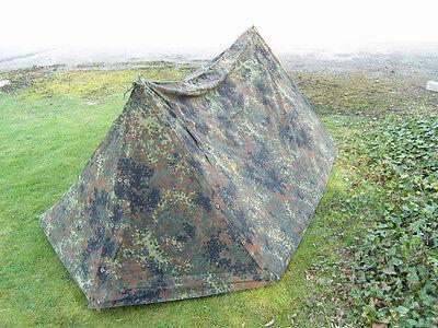 Genuine German Military 2 Man Pup Tent canvas bushcraft Preppers Army Flecktarn
