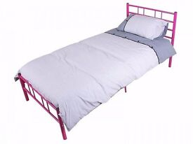 Single Bed, Full Size, Light Pink Metal Frame