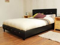 Brand new Black faux leather and diamante 4ft6 double bed with mattress. Free delivery