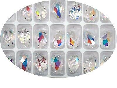 6 Crystal AB, Preciosa Czech MC Pear Beads, tear drop shape 18x12mm, P316 Ab 12mm Beads
