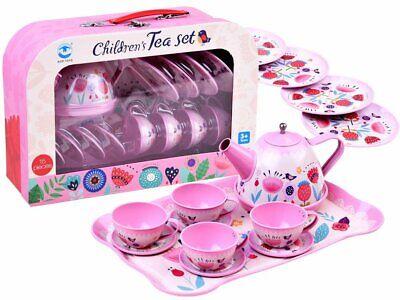 Tee-Set Blumen Metall Wasserkocher Küche Zubehör Kinder Tassen Teller Geschenk