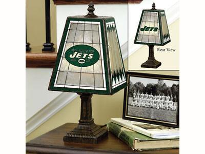 New York Jets NFL Art Glass Tiffany Table Desk Lamp New in Box NIB 30% off!