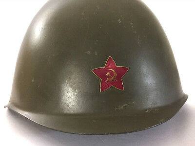 1950s Russia Czech Army Helmet with Star Hammer Sickle Emblem