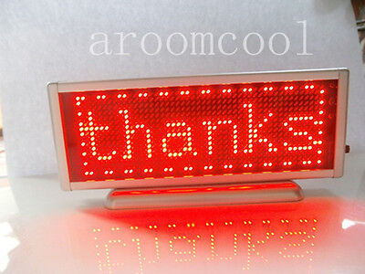 16x48 Display Programmable Message Moving Scrolling Led Name Badge Tag Red