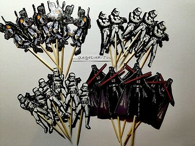 12 x Star Wars Cake Picks/Cupcake Toppers Flags Kids Birthday Party Decoration85 - Kids Cupcake Wars