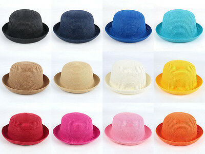 Women Kids Children Girls Soft Straw Bowler Derby Bucket Cloche Hats Caps   - Kids Derby Hats