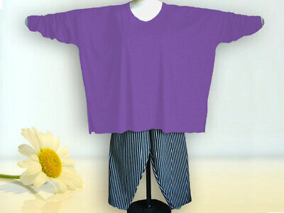 Baumwolle Extra Langes Tunika (Oversized Shirt, extra lange Ärmel Gr. von 48 - 64,Jersey,Baumwolle lila)