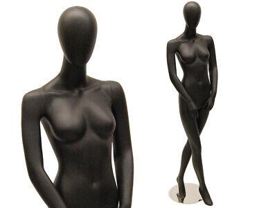 Female Adult Full Body Fiberglass Egg Head Satin Black Standing Mannequin