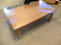 Living Room Coffee Table with Glass Top - Wood Oak colour / effect - 100 X 113 cm