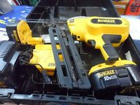 DeWalt DC618 18V 16g Cordless Finish Nailer+1 Battery+Charger+Storage Case - Excellent Condition