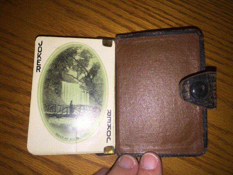 Chicago Milwaukee St Paul CM STP Railroad Scenic PLAYING CARDS DECK Leather Case