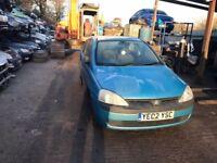2002 Vauxhall Corsa Club 16v 3dr Hatchback Petrol 1.2L Blue BREAKING FOR SPARES