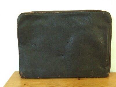 Vtg Dark Brown Leather Multi Pocket Business Portfolio Case Organizer Attache