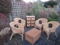 Garden wicker chairs with trunk and chest
