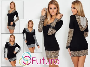 Womens-Tunic-With-Hood-Long-Sleeve-Animal-Print-V-Neck-Jumper-Size-8-18-2026