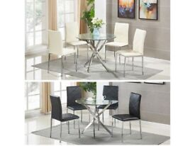 *FAST & FREE UK DELIVERY* Modern Square Glass Dining Room Table Set with 4 Faux Leather Chairs