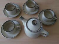 DENBY TEAPOT, Cups and Saucers