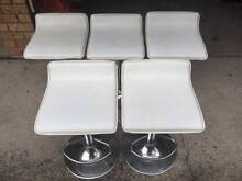 5x White Leather Adjustable Gas Lift Bar Stools with Foot Rest Homebush Strathfield Area Preview