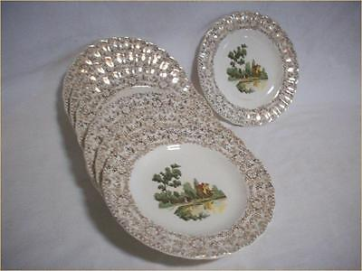 American Limoges B&B China Plates Focal Mosaic Crafts 22K Gold Gilt