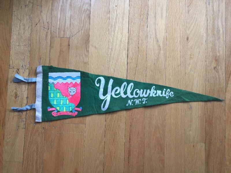 Vtg Yellowknife Northwest Territories Pennant Felt Banner 1960