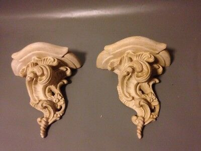 Pair Of Vintage Chalkware Sconce Art Deco Rococco Revival Mid Century Resin Wall