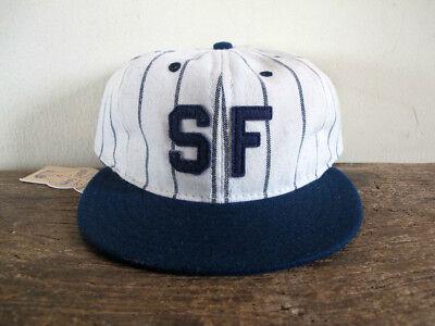 77007324884 San Francisco Seals EBBETS FIELD FLANNELS Pinstriped Fitted Cap sz 8 hat vtg