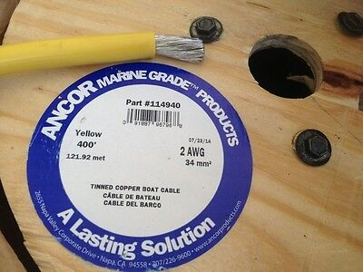 2 Awg Gauge Yellow Ancor Marine Tinned Copper Boat Battery Cable Wire 39' Foot