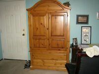 Dark Honey Pine Armoire