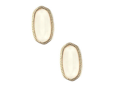Oval Faceted Lucite Stone Metal Frame Post Pin Earrings ~ NEW!