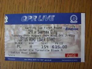24-08-2004-Ticket-Queens-Park-Rangers-v-Swansea-City-Football-League-Cup