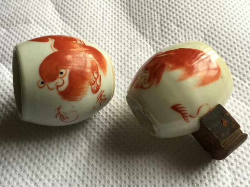 Antique Red Lion Pair Bird Cup