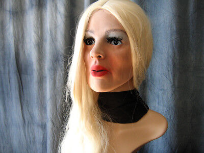 Foam Latex Masks (Foam Latex Mask MARY +WIG +LASHES - Realist. Rubber Gum Woman Face Sissy)