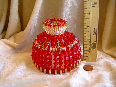 BEADED SHADE FOR WINDOW TABLE NIGHT LIGHT ELECTRIC CANDLE SHADE CHRISTMAS RED