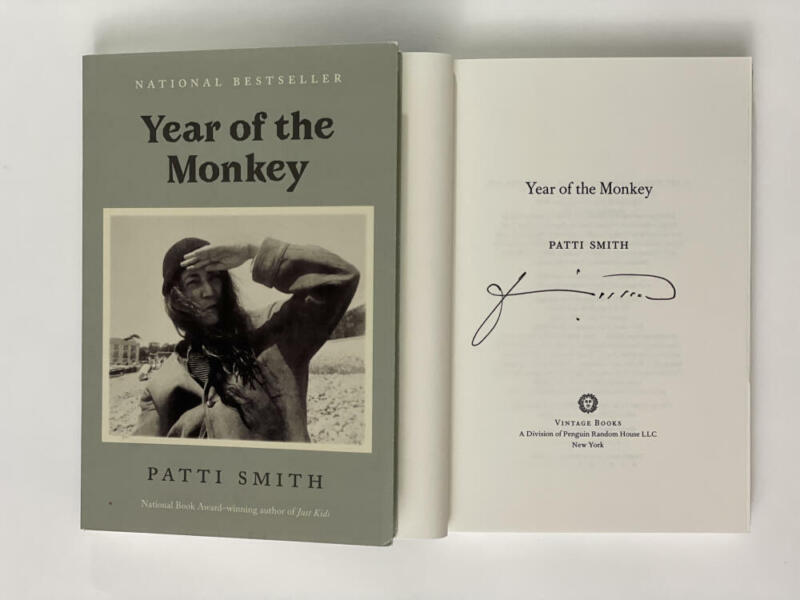 """PATTI SMITH SIGNED AUTOGRAPH """"YEAR OF THE MONKEY"""" BOOK - PUNK ROCK, HORSES RARE"""