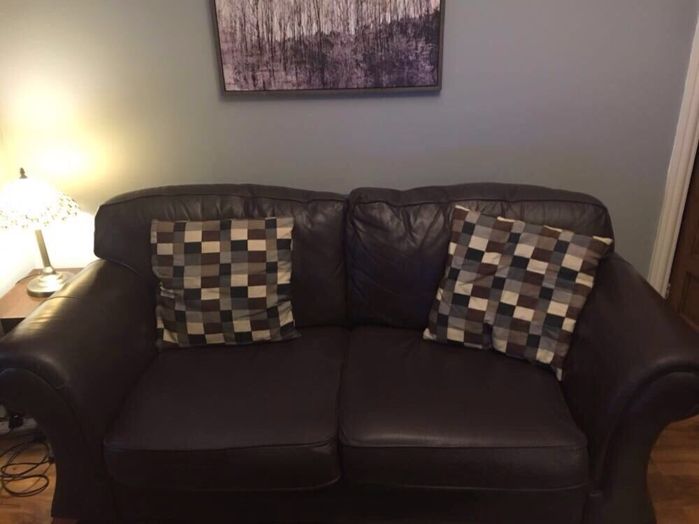 3&2 Brown leather sofas