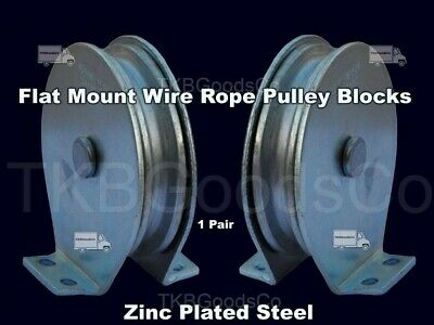 Flat Mount Wire Rope Pulley Blocks 1 Pair Zinc Steel Plated 525 Lb Load Cap