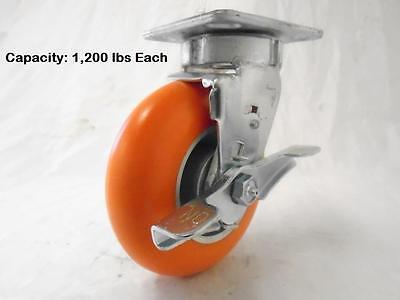 6 X 2 Kingpinless Swivel Caster With Brake Apex Polyurethane Wheel Tool Box