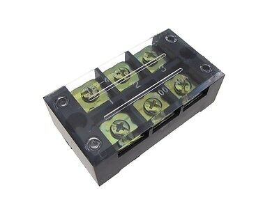 3 Position Screw Barrier Strip Terminal Block W Cover 45a
