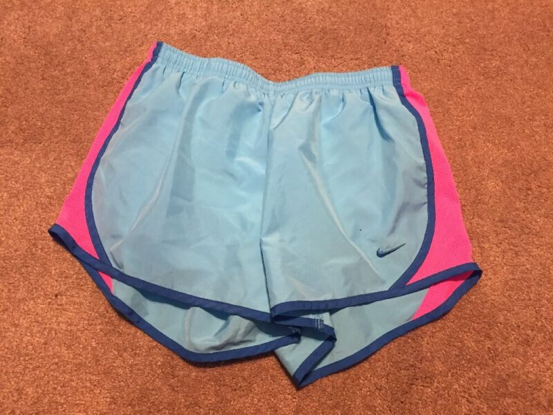 Girls Nike Blue Pink Athletic Lined 2 in 1 Shorts Size Large