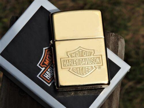 Zippo Lighter - Harley Davidson - Bar and Shield - Brass - Rare - 254BHD H260