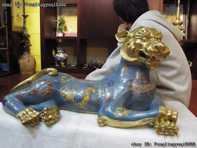 Royal Bronze 24K Gold Cloisonne enamel Feng Shui Chinese Zodiac Tiger Statue