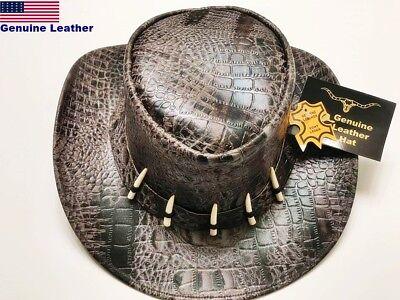Genuine Cow LEATHER  Outback Western Cowboy Hat. Antique crocodile. RODEO Texas (Crocodile Cowboy Hat)