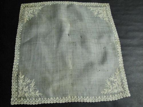 Antique Wedding Hankie Handmade Ayrshire Whitework Embroidery & Lace Imperfect