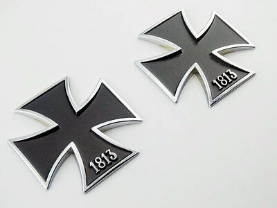 (2X 1813 Iron Cross Badge Emblems Decal Metal Motorcycles Tank Truck Auto Car Suv)