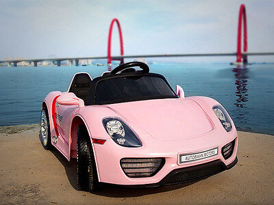 12V Kids Ride On Car Girls Electric Power Wheels Remote Control Pink Key Start